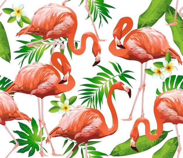 Flamingo bird y fondo de flores tropicales.