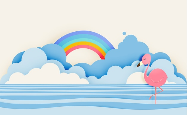 Flamingo en estilo de arte en papel con mar y cielo fondo color pastel esquema vector illustr