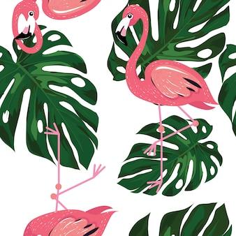 Flamingo con hojas de monstera patrón de verano.