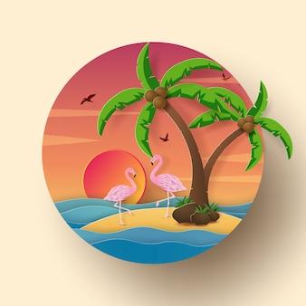 Flamingo en la isla con puesta de sol