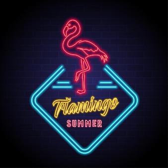 Flamingo silueta icono verano con luz neón que brilla intensamente