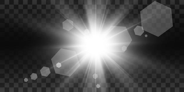 Flash de lente especial, efecto de luz. el flash destella rayos y reflector. ilust. luz blanca brillante. hermosa estrella luz de los rayos. el sol está a contraluz. brillante hermosa estrella. luz del sol. destello.