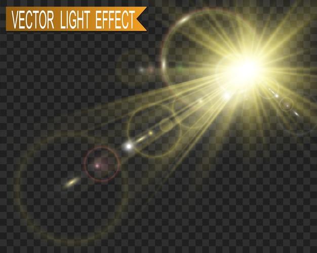 Flash de lente especial, efecto de luz. el flash destella rayos y reflector. ilust luz blanca brillante. hermosa estrella luz de los rayos. el sol está a contraluz. hermosa estrella brillante. luz del sol. destello.