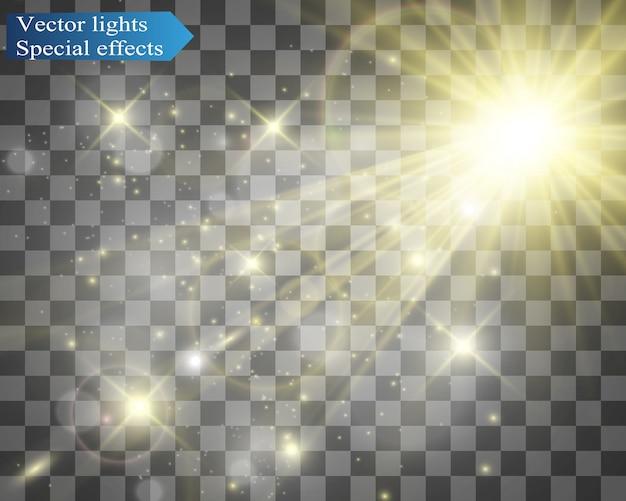 Flash de lente especial, efecto de luz. el flash destella rayos y reflector. ilust. luz blanca brillante.