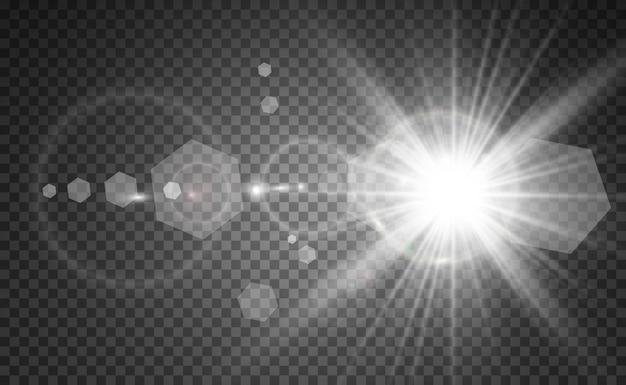 Flash de lente especial, efecto de luz. el flash destella rayos y reflector.