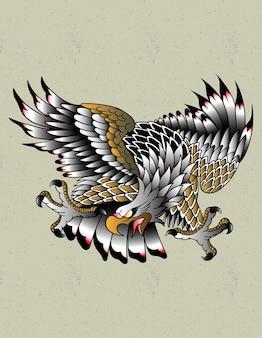 Flash de tatuaje de águila