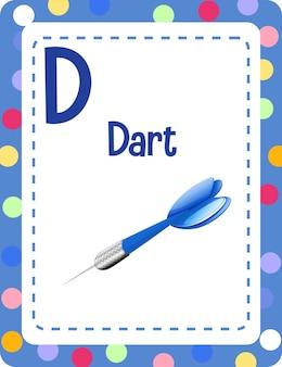 Flashcard del alfabeto con la letra d para dart