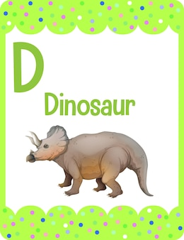 Flashcard del alfabeto con la letra d para dinosaurio