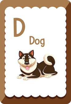 Flashcard del alfabeto con la letra d para perro