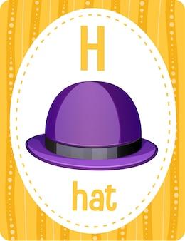 Flashcard del alfabeto con la letra h para sombrero