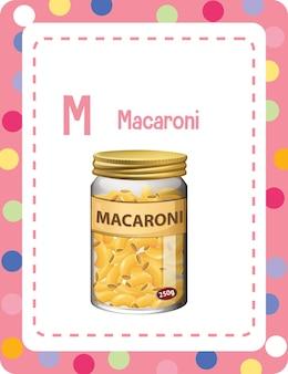 Flashcard del alfabeto con la letra m para macarrones