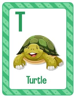 Flashcard del alfabeto con la letra t para tortuga