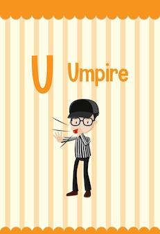 Flashcard del alfabeto con la letra u para árbitro