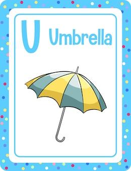 Flashcard del alfabeto con la letra u para umbrella