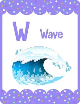 Flashcard del alfabeto con la letra w para wave