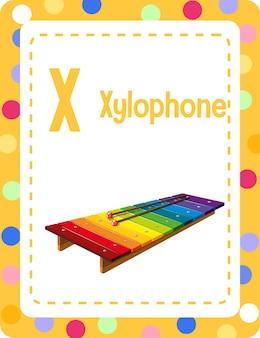 Flashcard del alfabeto con la letra x para xilófono