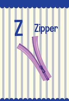 Flashcard del alfabeto con la letra z para cremallera