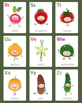 Flashcard imprimible alfabeto inglés de la r a la z