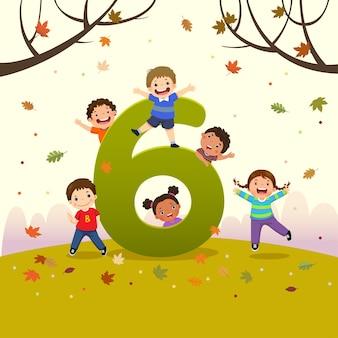 Flashcard para jardín de infantes y preescolar que aprende a contar el número 6 con varios niños.