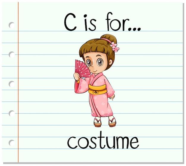 Flashcard letra c es para disfraz