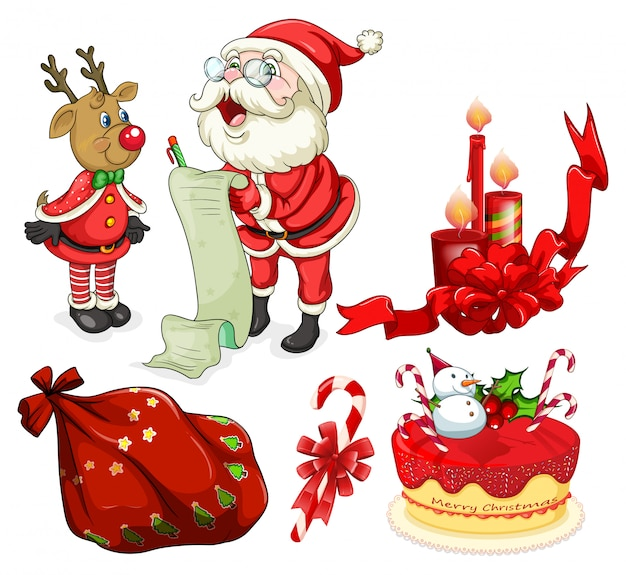 Flashcard navideña con santa y adornos.