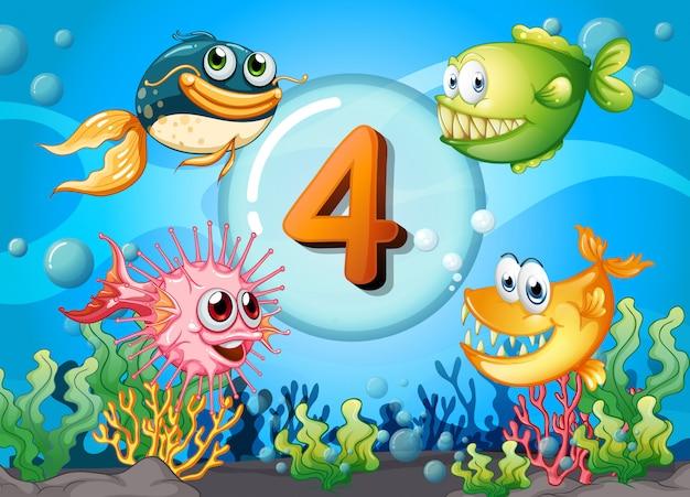 Flashcard numero 4 con 4 peces bajo el agua
