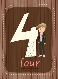 Flashcard número 4 con número y palabra.