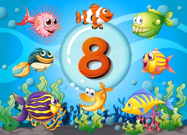 Flashcard número ocho con 8 peces bajo el agua
