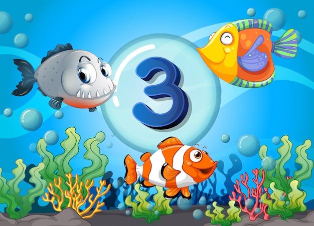 Flashcard número tres con peces bajo el agua
