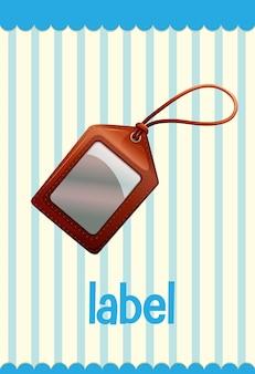 Flashcard de vocabulario con etiqueta de palabra