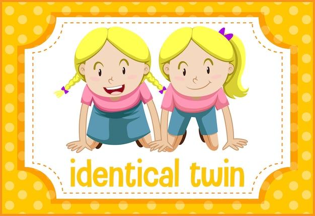 Flashcard de vocabulario con la palabra gemelo idéntico
