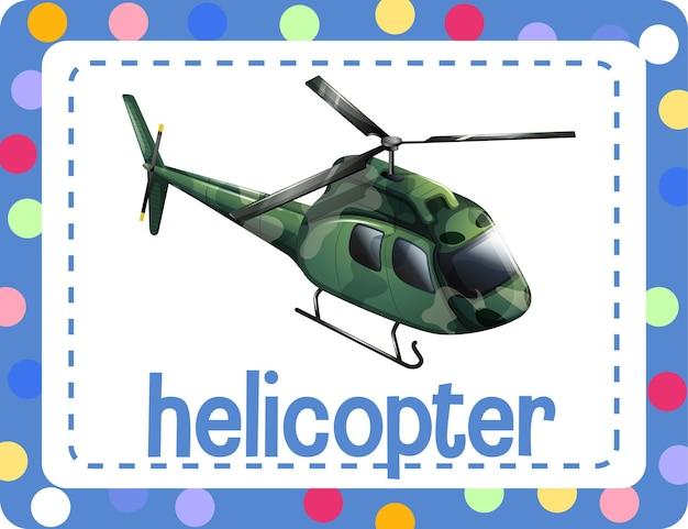 Flashcard de vocabulario con la palabra helicóptero