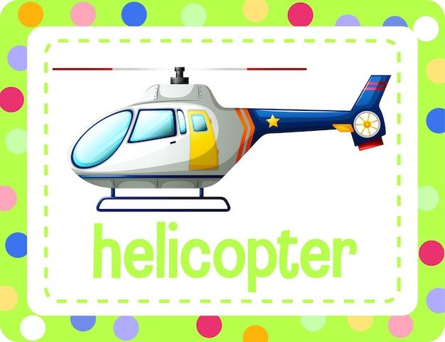 Flashcard de vocabulario con la palabra helicóptero vector gratuito