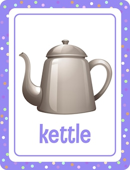 Flashcard de vocabulario con la palabra kettle