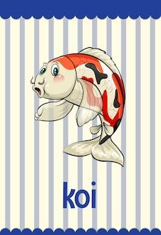 Flashcard de vocabulario con la palabra koi