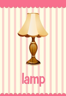 Flashcard de vocabulario con la palabra lamp