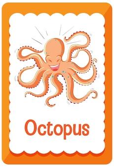 Flashcard de vocabulario con la palabra octopus