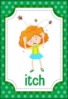 Flashcard de vocabulario con word itch