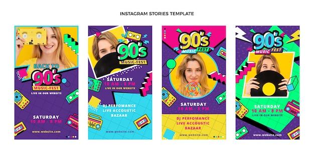 Flat 90s nostálgico festival de música historias de ig