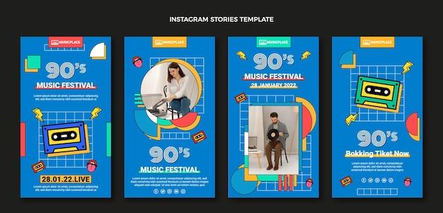Flat 90s nostálgico festival de música historias de instagram