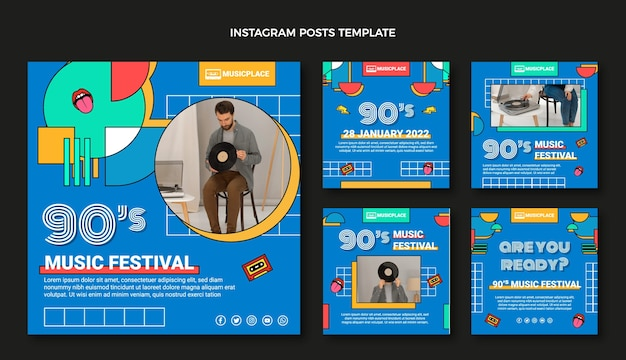 Flat 90s nostálgico festival de música publicaciones de instagram