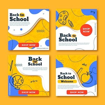 Flat back to school publicaciones de instagram
