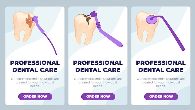 Flat banner es escrito profesional de atención dental.