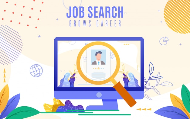 Flat banner is written job search crece su carrera.