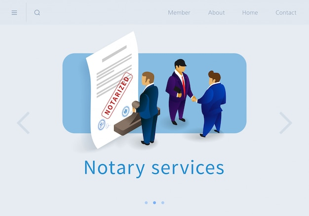 Flat banner notary services landing page isometric