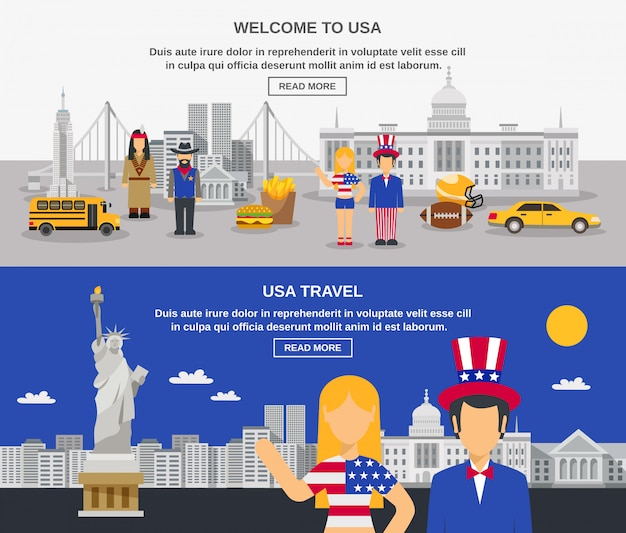 Flat banners composition usa culture