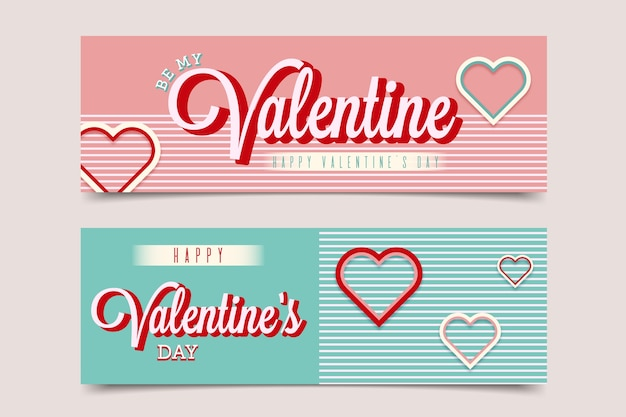 Flat be my valentine's day banners