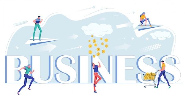 Flat business exitoso trabajo en equipo, creación de negocios