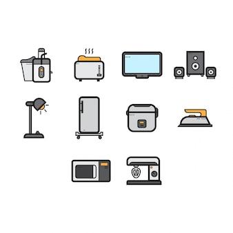 Flat color casa electrodomésticos conjunto de iconos