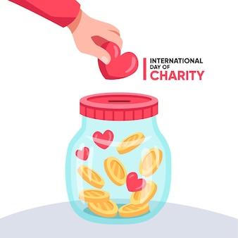 Flat día internacional de la caridad